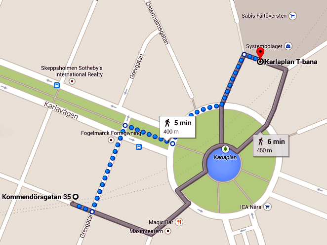 Direction From Karlaplan train till kommendorsgatan 35