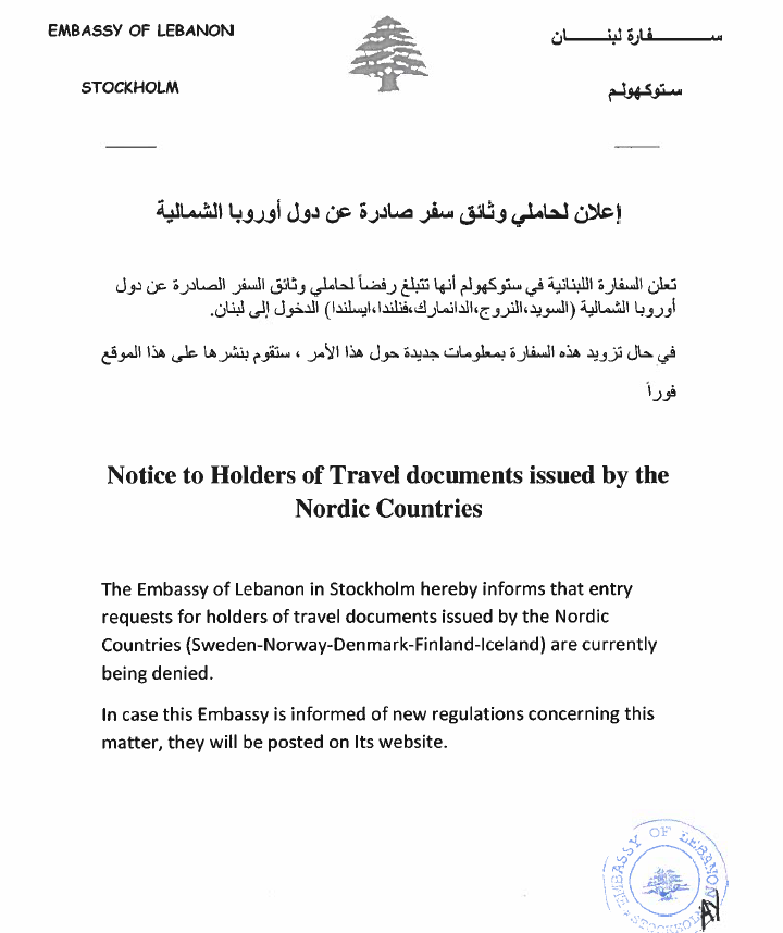 Notice To Holders of Travel documents issued by the Nordic Countries